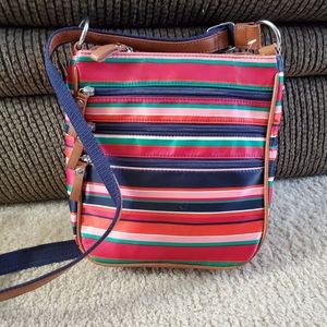 Laura Scott pink and red striped crossbody bag